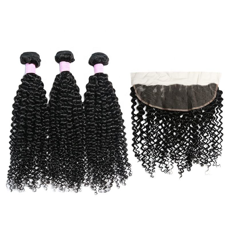 Wholesale Manufacturer Hot Sale Indian Human Hair Extension, Wet Wavy 3 Kinky Curly Bundles With Closure Frontal For Black Women