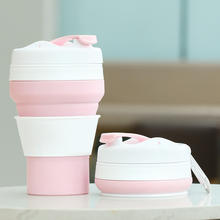 Portable OEM Eco Friendly Collapsible Travel Coffee Mug Silicone Foldable Coffee Mug Cup With Lid
