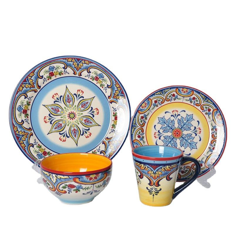 Wholesale 20 PCS Elegance fine royal Decal Printing Ceramic Dinnerware Crockery Porcelain Tableware Dinner Sets