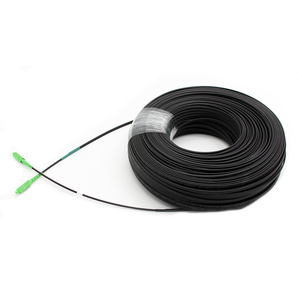 Kualitas Tinggi FTTH Outdoor Patch Cord 100M Kabel <span class=keywords><strong>SC</strong></span>/APC-<span class=keywords><strong>SC</strong></span>/APC SM G657A1 2X5Mm aerial Self-Supporting SX Ftth Drop Cable