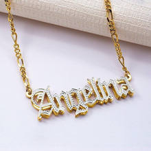 Elva jewelry Competitively 3d nameplate necklace women custom double plated name necklace