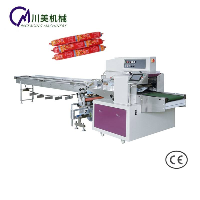 Full automatic sausage snack bar candle flow packing machine with automatic feed