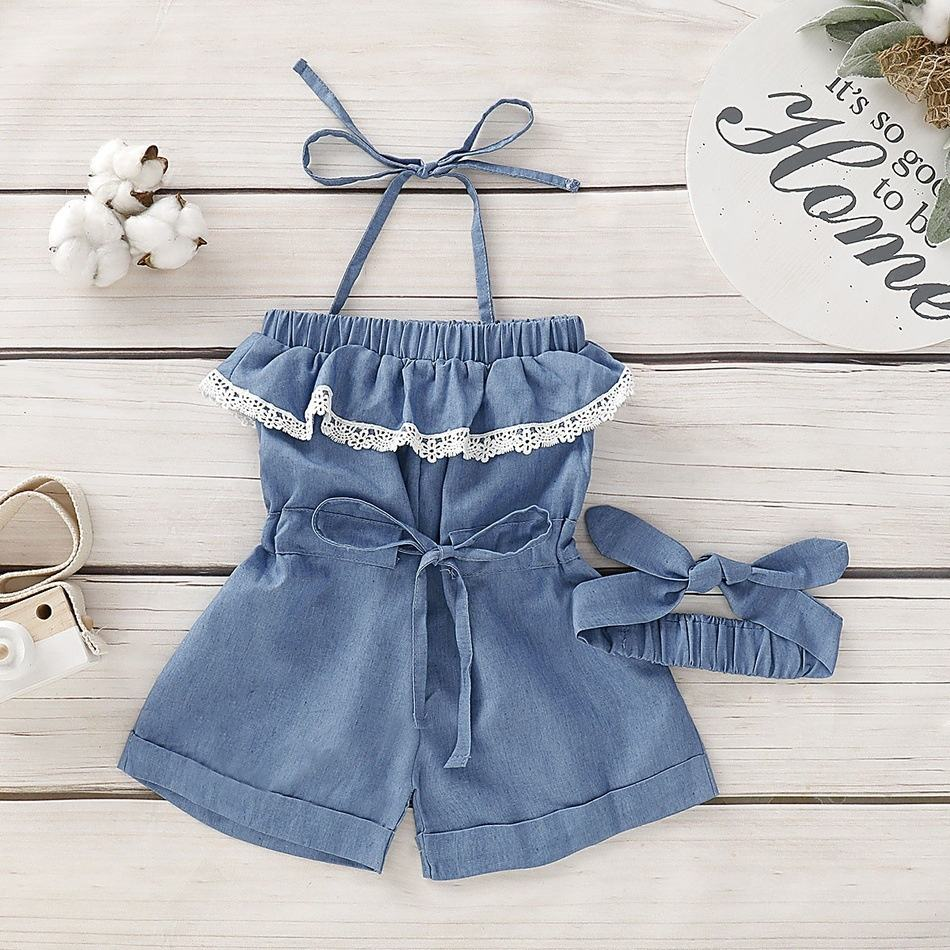 Summer Baby Girls Kids Toddler Denim Romper Sleeveless Lace Jumpsuit Casual Solid Color Rompers Headband Clothes Outfits