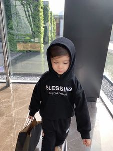 Popular black kids oversized hoodies sweatshirts custom for boys