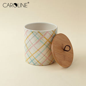 Wholesale Ceramic Kitchen Jar Tea Coffee Canisters with Wooden Lid