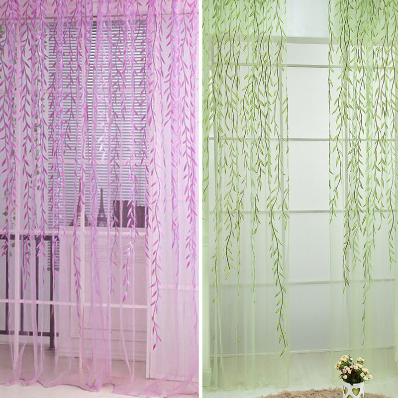 Willow Tulle Curtains For Bedroom Home Decor 4 Colors for Living Room Pastoral Style Children's Room Blackout Window Curtains