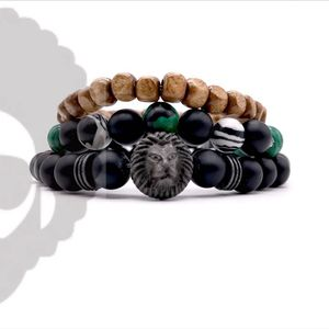 2020 new product three strip synthetic bracelet lion beads justice buddha bracelet set