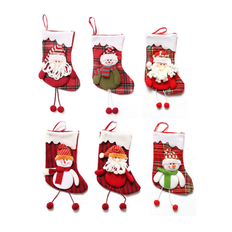 [ Gifts Christmas ] Factory Wholesale Children Gifts 11 Inch Candy Snowman Christmas Stocking Socks For Home Decoration