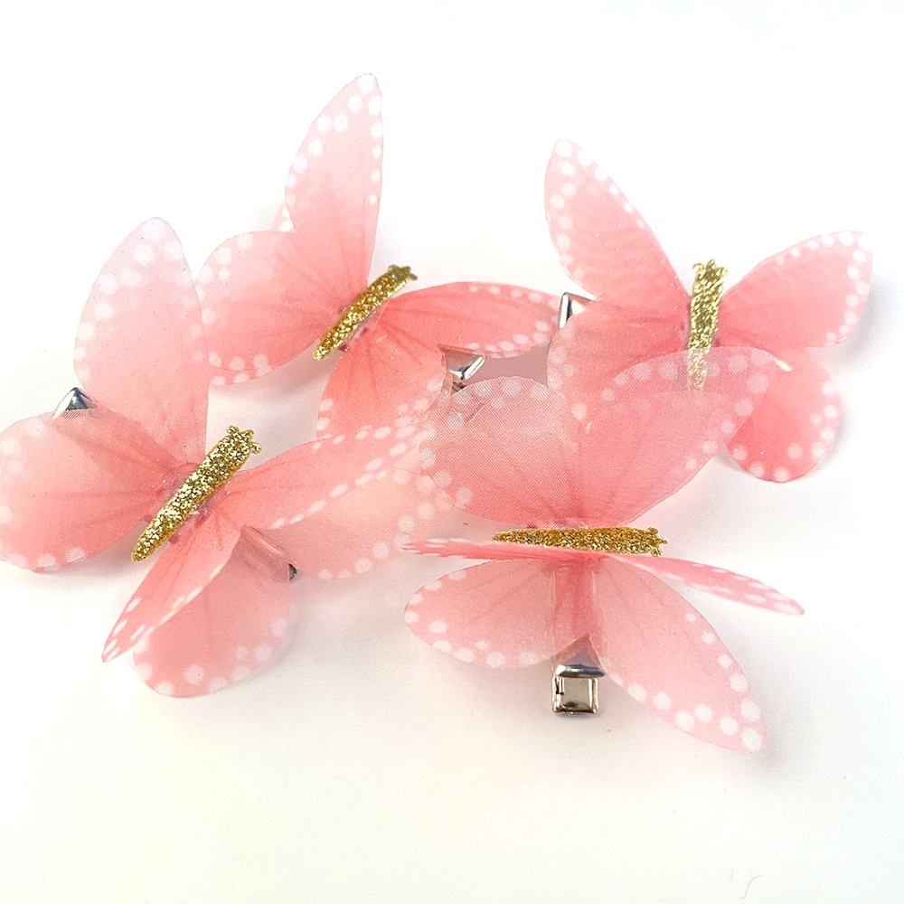 Wholesale kids hair accessories clips mini plastic butterfly hair pins clips for girls metal barrette kids hair clips
