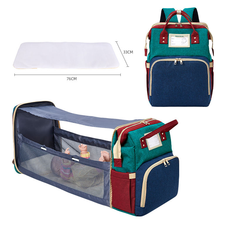 Folding crib Baby stroller sleeping nappy bag changing bed station diaper wet bags backpack with USB