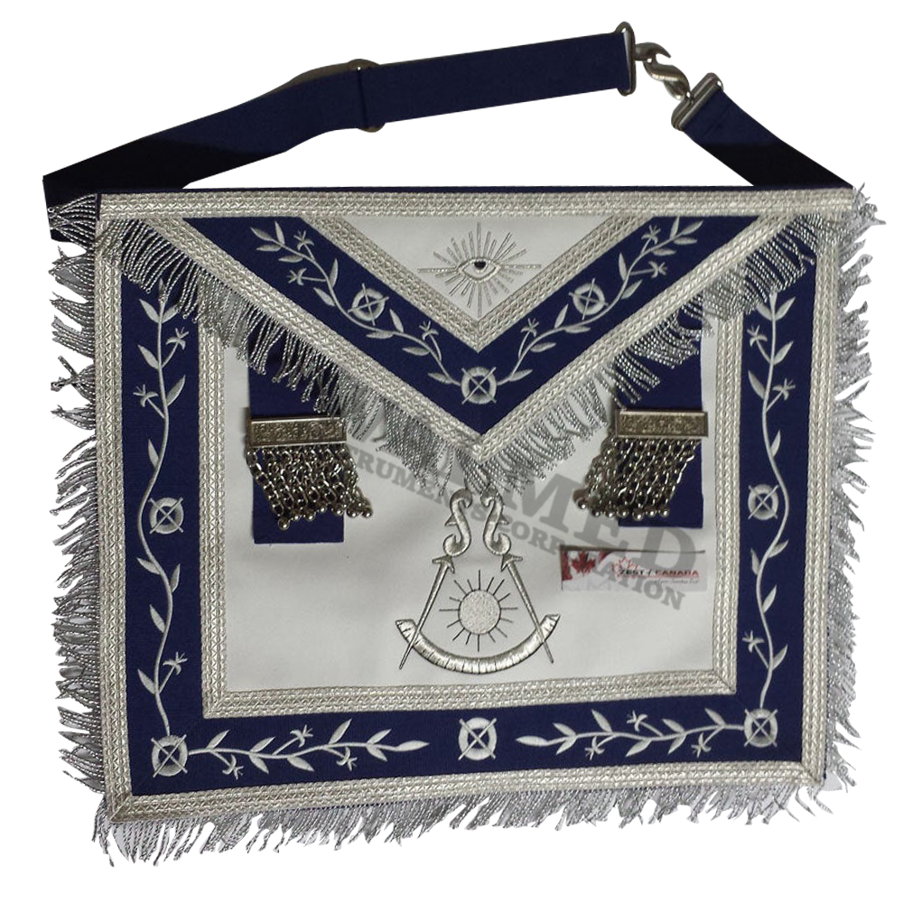 Master Mason Apron Navy Blue with Fringe Embroidered Silver / Masonic Lodge Officer Aprons Masonic Past Master Silver Apron