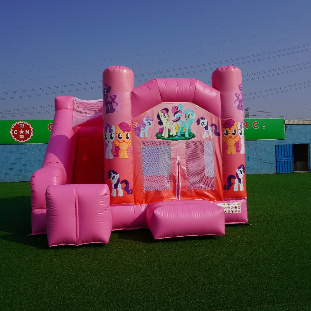 Eenhoorn Pony Maan Bounce Combo Indoor Outdoor Little Pony Opblaasbaar Springkasteel Glijbaan Opblaasbare Games