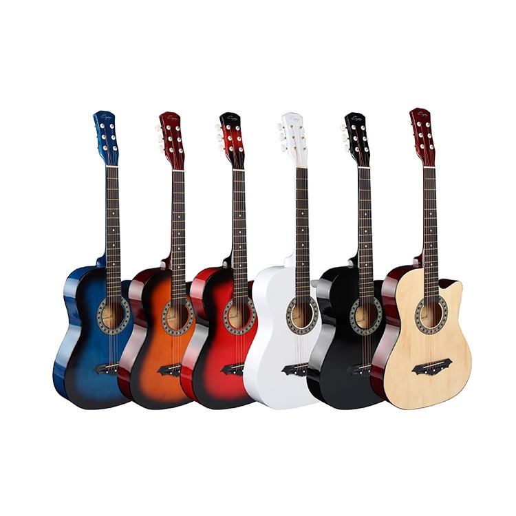 Custom Design Basswood 38 Inch Acoustic Guitar High Quality For Beginner
