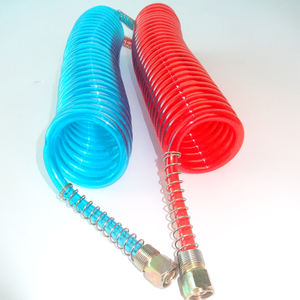 Manufacturer High Pressure Blue Red Pc Spring Pneumatic Tube Flexible Spiral Trailer Truck Air Brake Hose Fittings