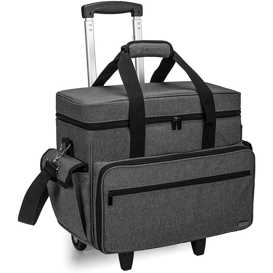 Portable sewing machine bag customized sewing Machine Case on Wheels , Rolling Sewing Machine Tote with Detachable Trolley Dolly