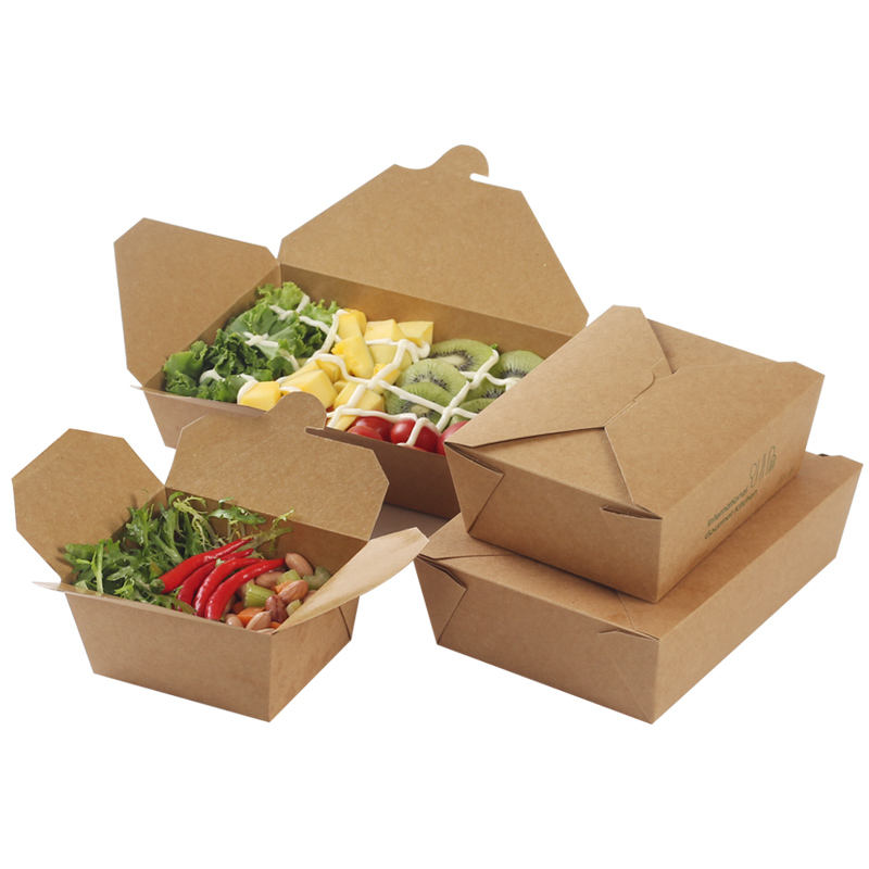 Delivery Take Away Disposable Meal Containers Kraft Paper Food Packaging Box