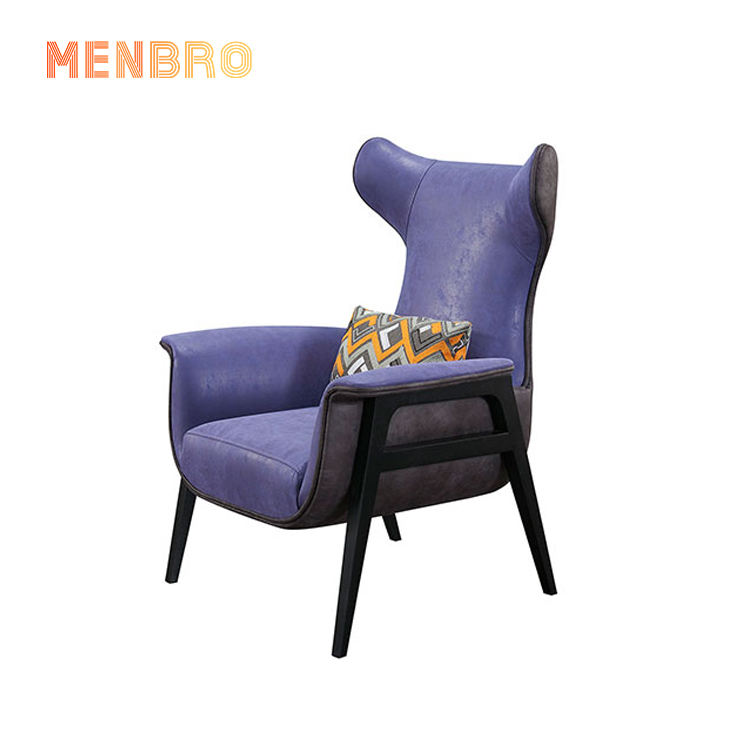 Nordic Simple Design Hotel Furniture Wooden High Back Accent Arm Chairs Living Room Purple Leather Leisure Sofa Chair