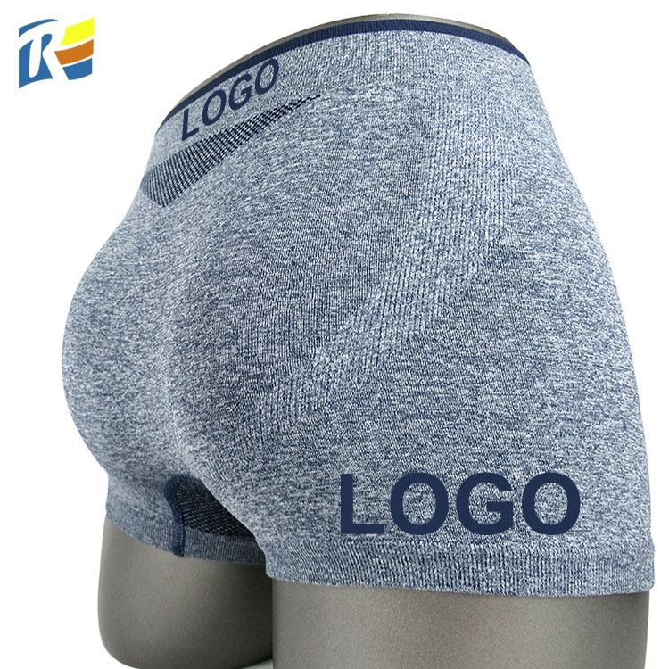 Custom LOGO Personality Seamless Male Shorts Butt Lifter Jacquard Underwear Man Boxer Briefs Underpants
