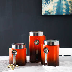 Wholesale tea coffee sugar canister red kitchen ceramic storage jar set with spoon