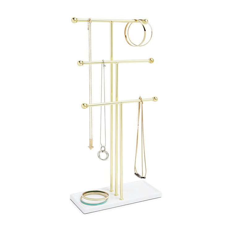 3 Tier Table Top Metal Necklace Bracelet Holder Hanging Jewelry Organizer With Jewelry Tray Base