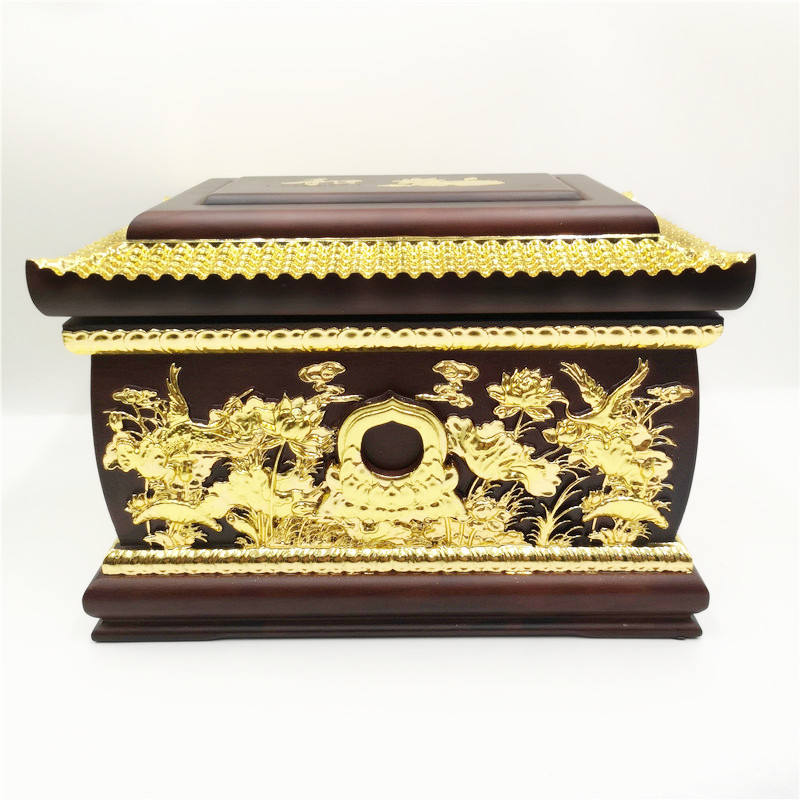 High quality wood covered gold wholesale Adult coffin Adult the cinerary casket Wood cremation Weng