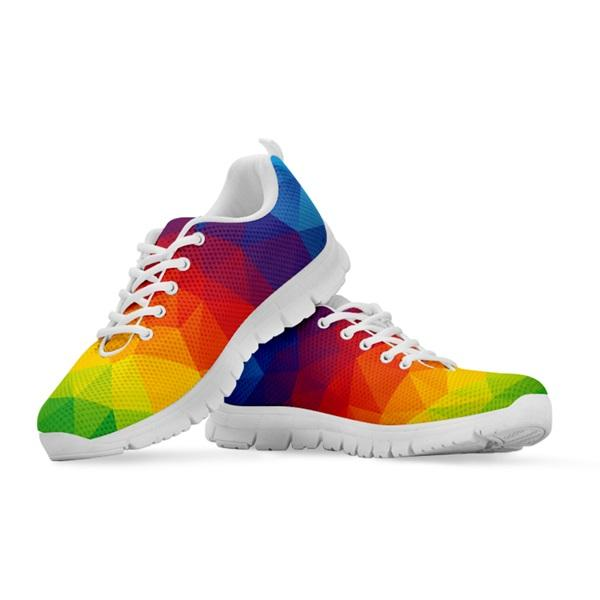 Vibrant Rainbow Spectrum Triangle Geometric Printed Sports Shoes Woman Spring/Autumn Female Sneakers Breathable Walking Shoes