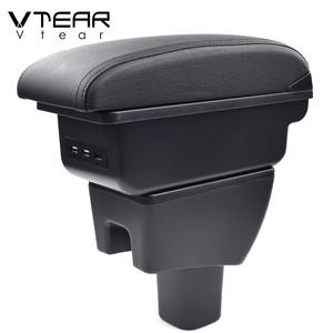 Vtear For Toyota Wigo armrest box USB Charging heighten Double layer central Store content cup holder ashtray accessories 15-20