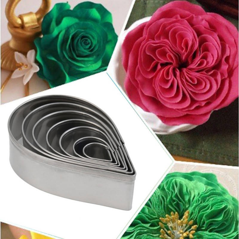Stainless Steel Water Drop Fondant Mold Set 7 Pieces Baking Cake Decoration Tools Rose Petal Mold