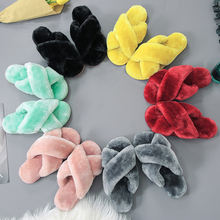 Fashion Women Vegan Faux Fur Slider Slippers, Open Toe Mule Fluffy House Slide Women Winter Slippers