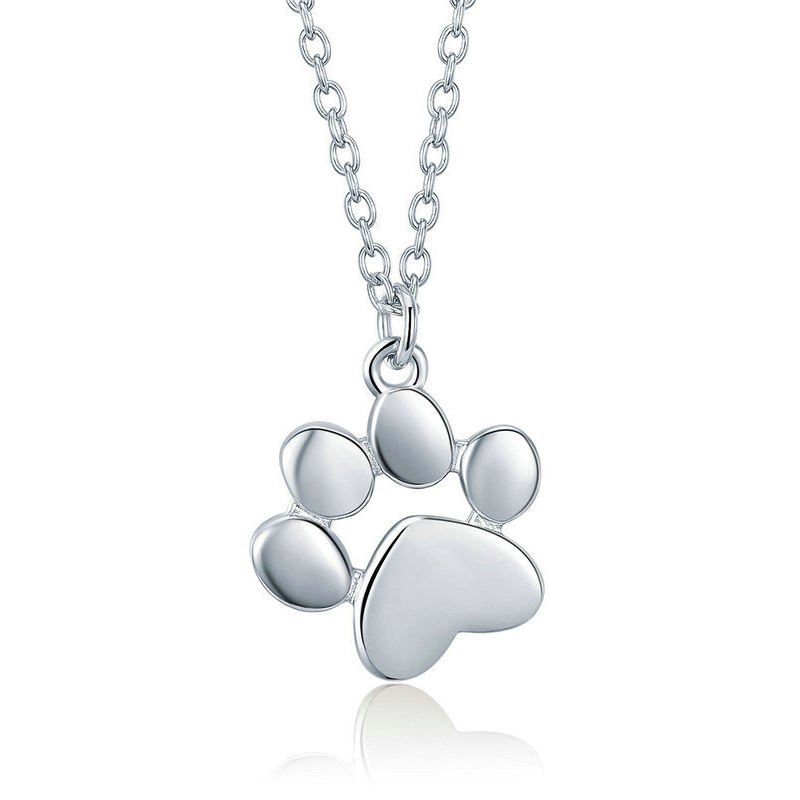 Customized design 925 Sterling Silver 18k rose gold plated Animal Footprints Dog Cat Footprints Paw Necklaces Pendants Women Jew