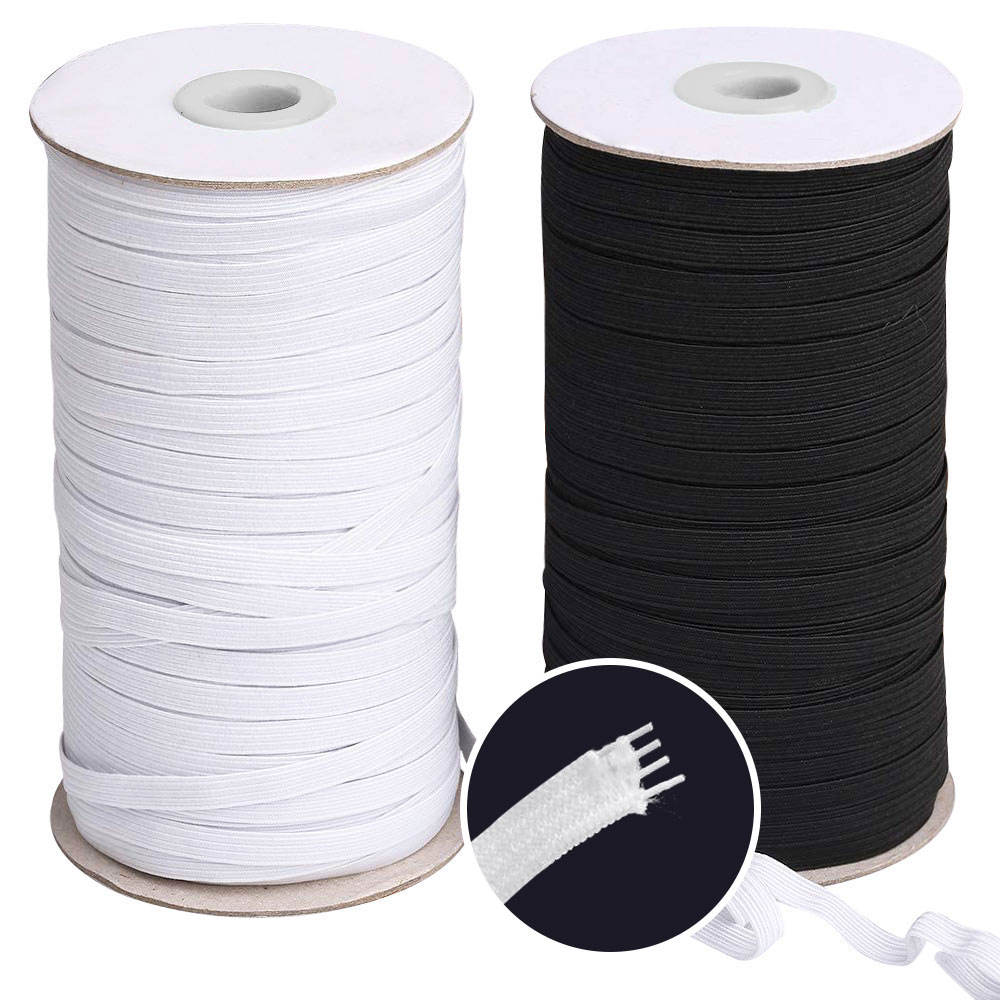 Flat Elastic Band, Braided Stretch Strap Cord Roll for Sewing and Crafting Elastic Rope Cords DIY Black & White