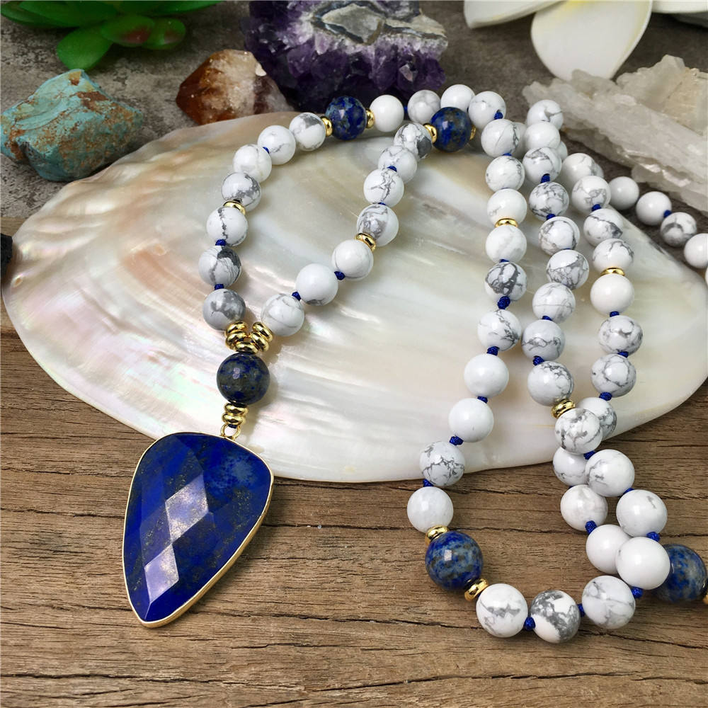 LS-A921 hot ins amazon women howlite mala lapis lazuli heart pendant yoga necklace fashion long knotted beads necklace