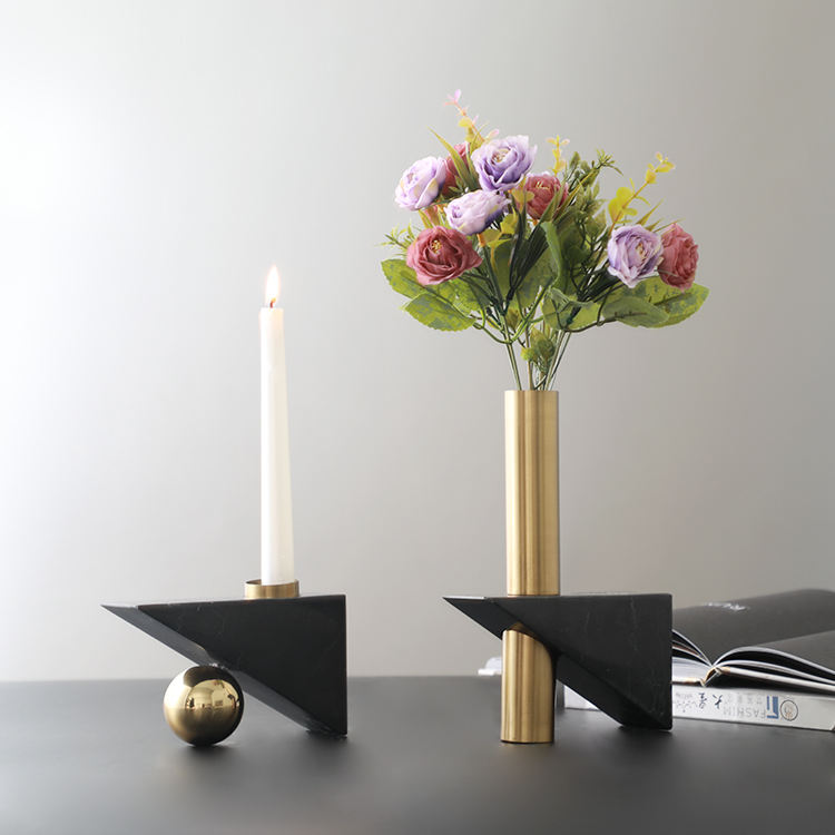 Living room flower stand antique flower holder sublimation natural marble and metal vases for table