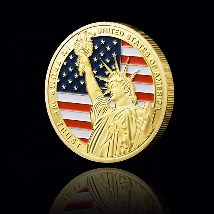 FS-Craft New Design Donald Trump 2020 Limited Gold Plated Coin US Flag Liberty Metal Coin