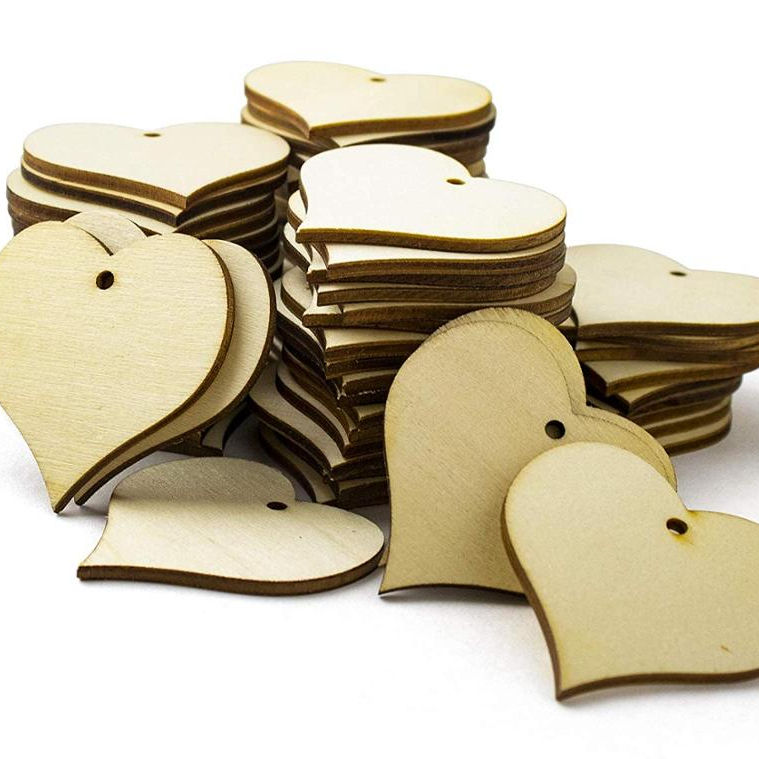 Wood Heart Shape 2 inch Slices 100 Pieces Blank Wooden Tags with Holes Great for DIY Wedding Decoration Making Ornaments