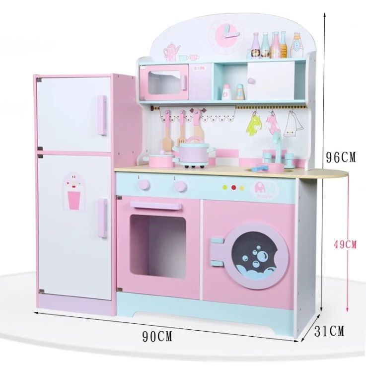 wooden kids kitchen play set Wooden Play Kitchen Children Kids Role Play Toys Games Cookware Set