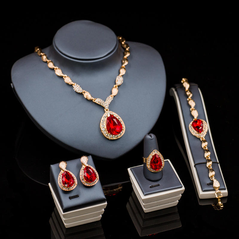 Fashion Women Jewelry Alloy Gem Earring Ring Bracelet Wedding Set Necklace