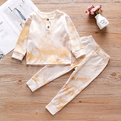 wholesale new born infant comfortable contton breathable sweet cute fall sweet long sleeve ground neck tie dye set for kids