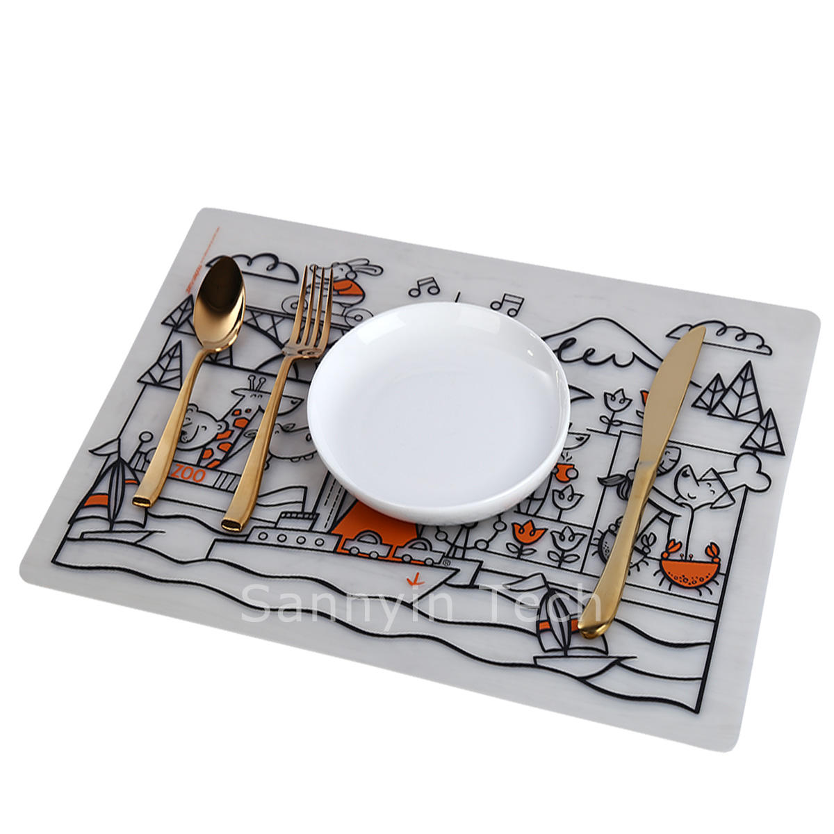 kitchen gadgets Waterproof Silicone Kids Washable Coloring Placemat Silicone Baby kids christmas Placemat