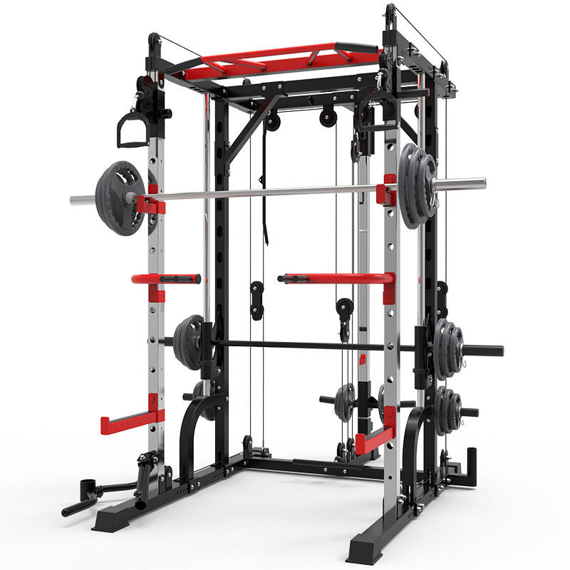 Smith Machine Functional Trainer Power Cage Adjustable Weight Bench All in One Commercial Gym Machine