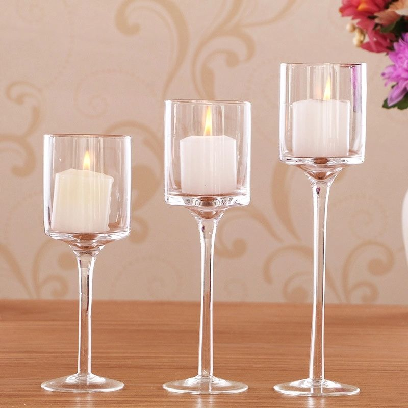 long stem clearantique brass candlestick holders candle accessories glass containers for candles