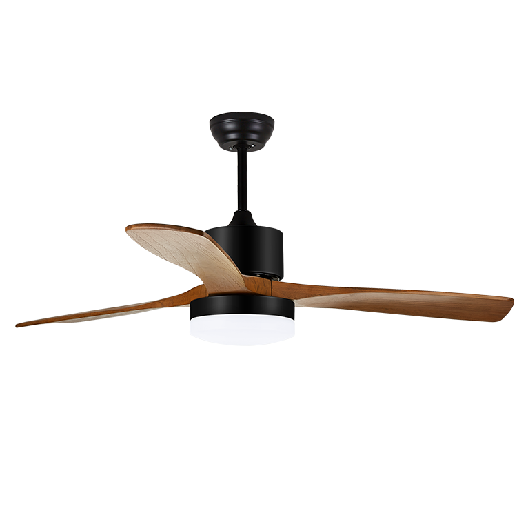 High Quality Vintage Style Solid Wood Blades Decorative Lighting LED Ceiling Fan with Remote Control