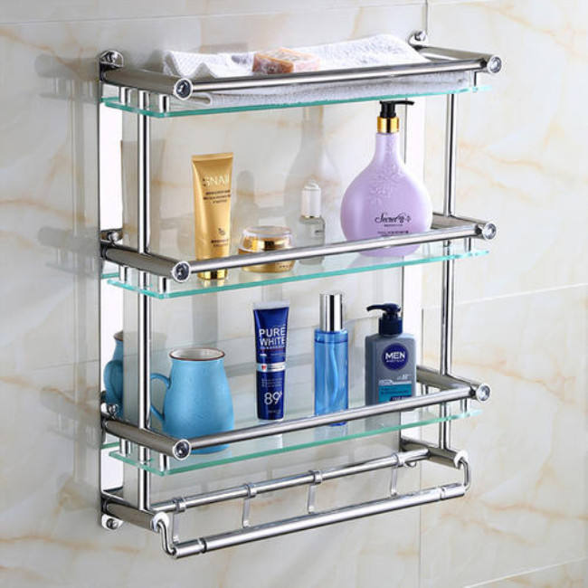 Wall Hanging Corner Three Tier Shower Bathroom Storage Glass Corner Shelf
