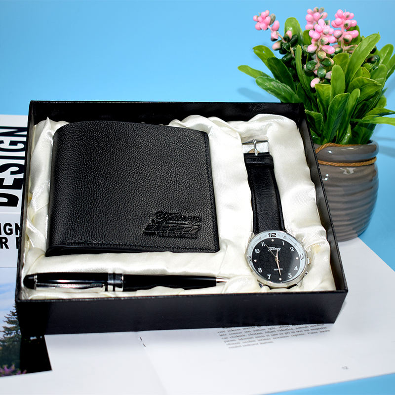 Customizable Sleek Minimalist Men's Watch Wallet Ballpoint Pen Business Gift Set