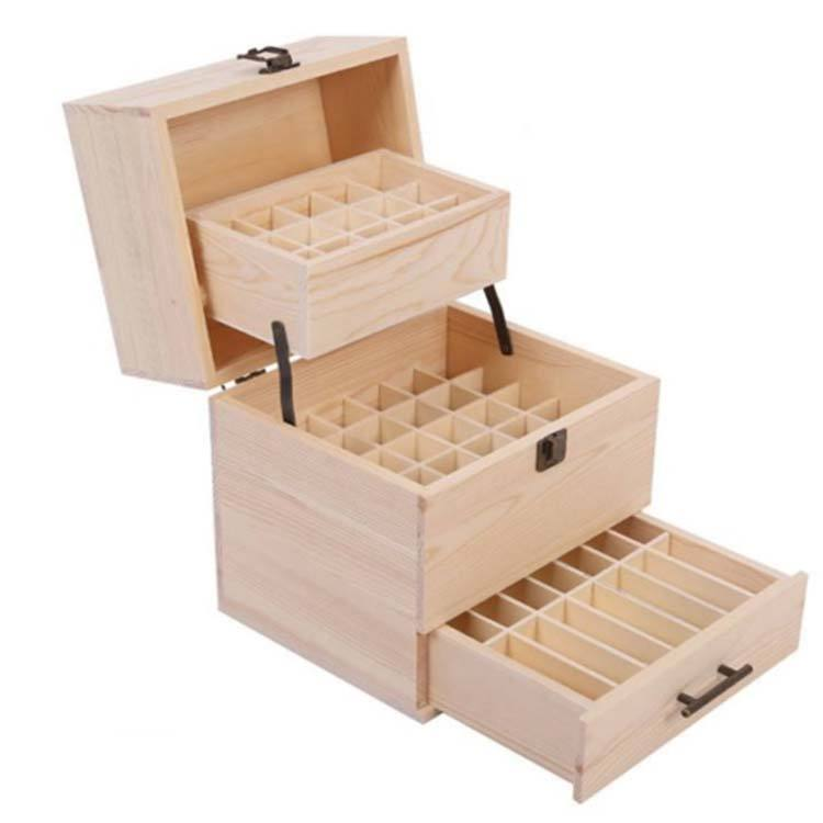 Wooden Essential Oil Storage Box 3 layers - Holds up to 59 bottles