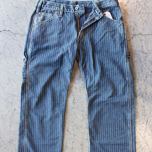 customized 100%cotton rope dyed indigo print striped denim fabric for Wabash Painter's Pants Jeans