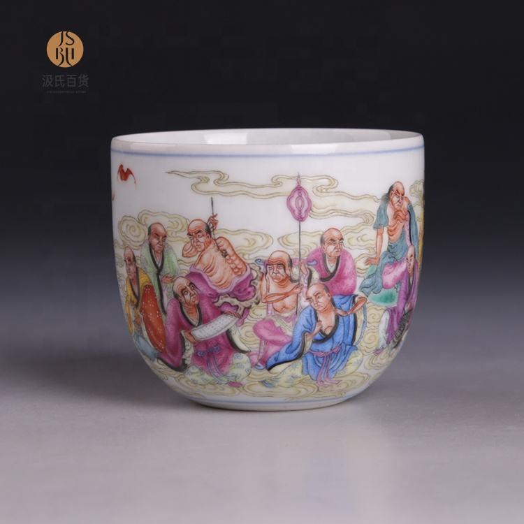 JUHETANG Hoàng Gia lò bột men sứ thủ công 18 vị a la hán Trà cup Jingdezhen trà sứ gốm đặt quà tặng Cao cấp