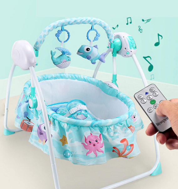 0-36 month baby electric cribs foldable sleep rocking bed automatic remote control baby swing cradle with music