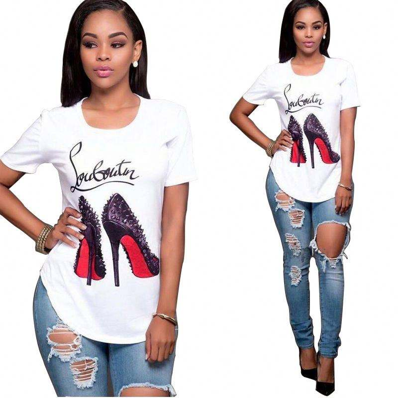 2019 Fashion High-heeled Shoes Printed Printed Tops Women's Short Sleeve Fashion Blouse T-shirt