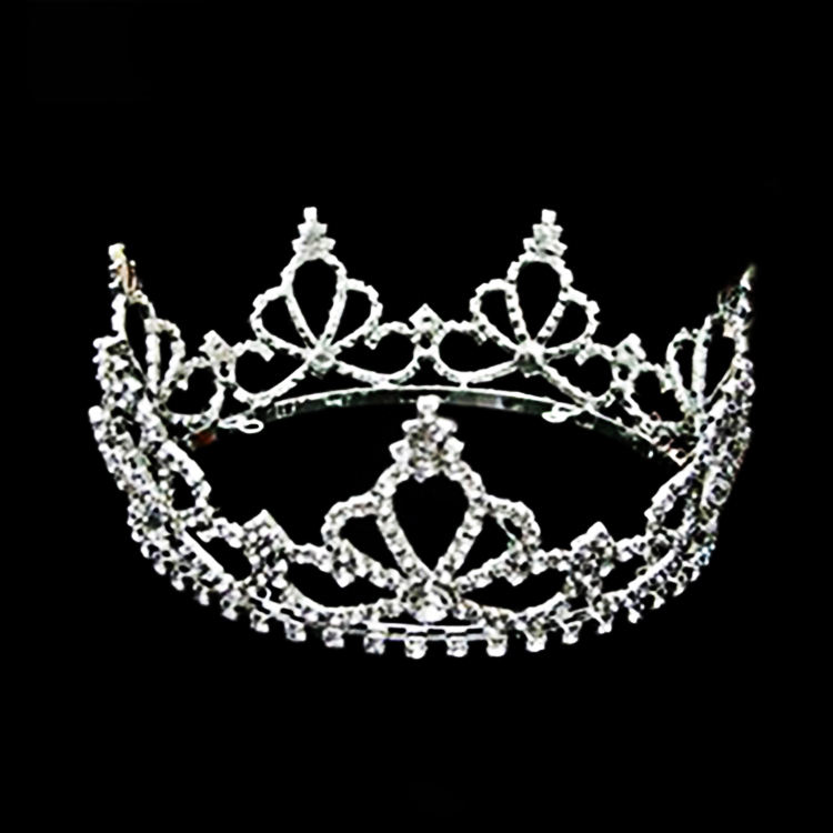 Multicolor European Baroque Bride Crown Headwear Luxury Crystal Diamond Round Crown